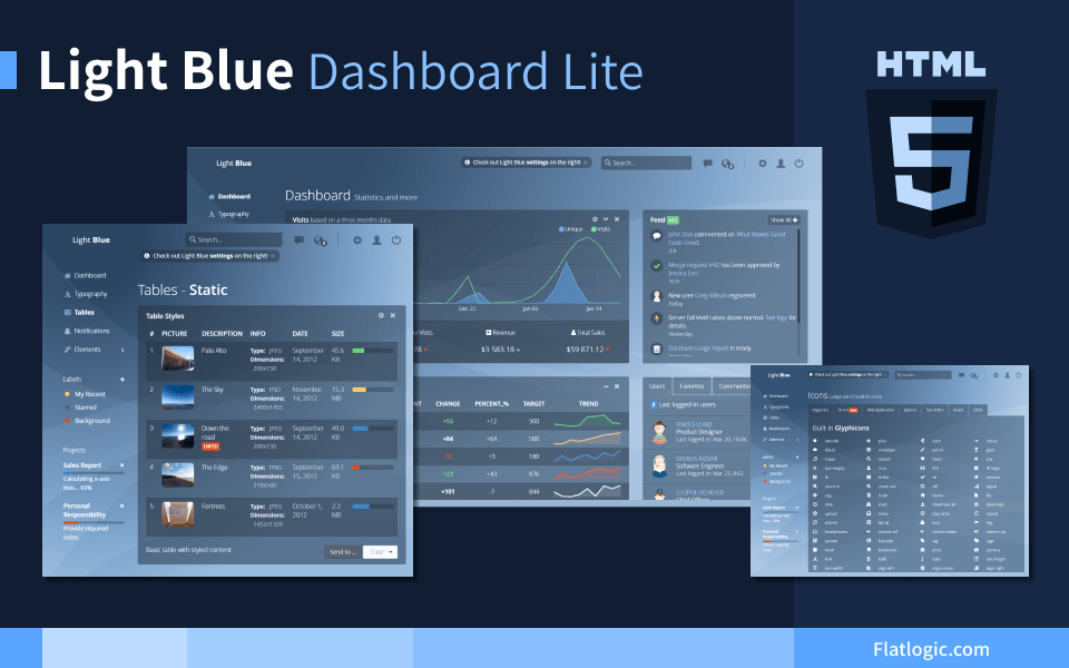 Light Blue Dashboard Lite - Free and Open Source Bootstrap Admin Dashboard Template