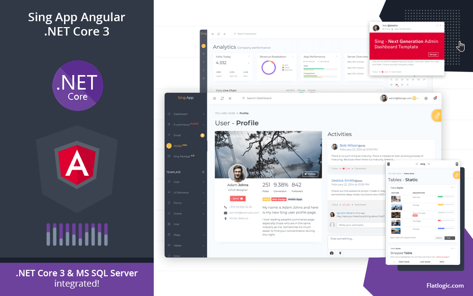 Sing App Angular .NET Core 3 - Angular Admin Template with .NET Core 3 Backend