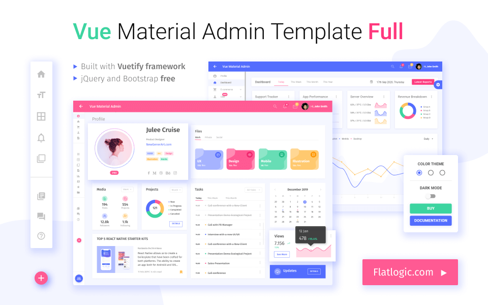 Vue Material Template Full
