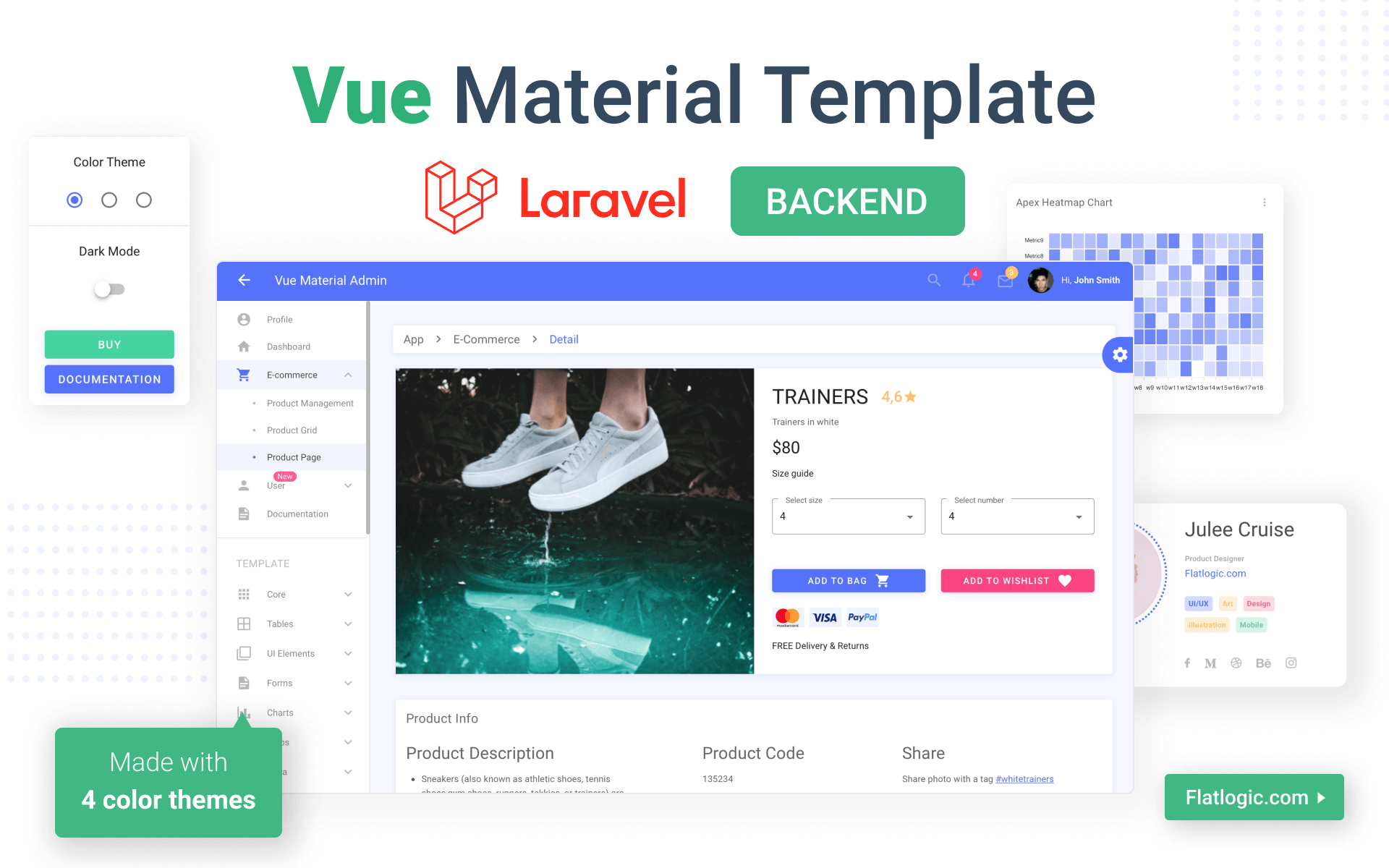 Vue Material Laravel Template - Ready-to-use Front-end + Backend CRUD Application