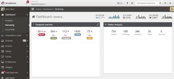 SmartAdmin Admin Dashboard screenshot screenshot