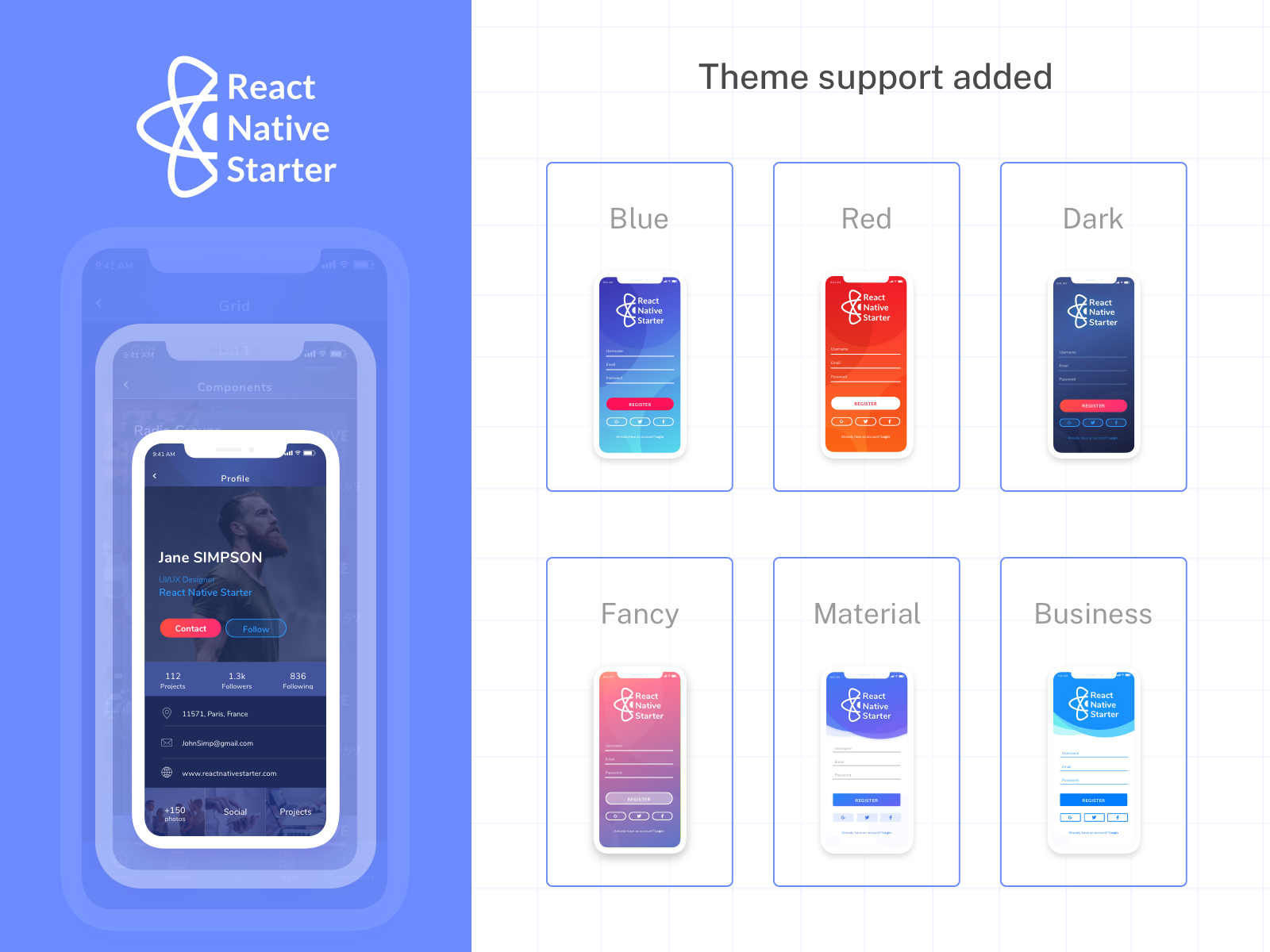 React Native Starter Update. New Color Themes Added