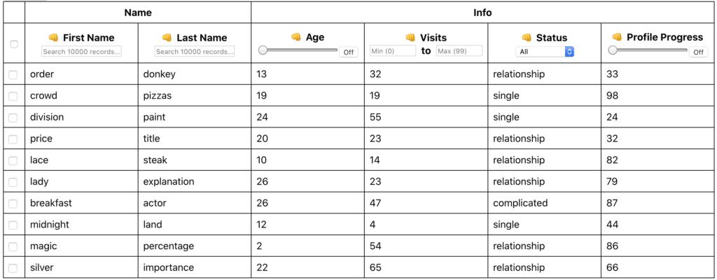 React-table screenshot