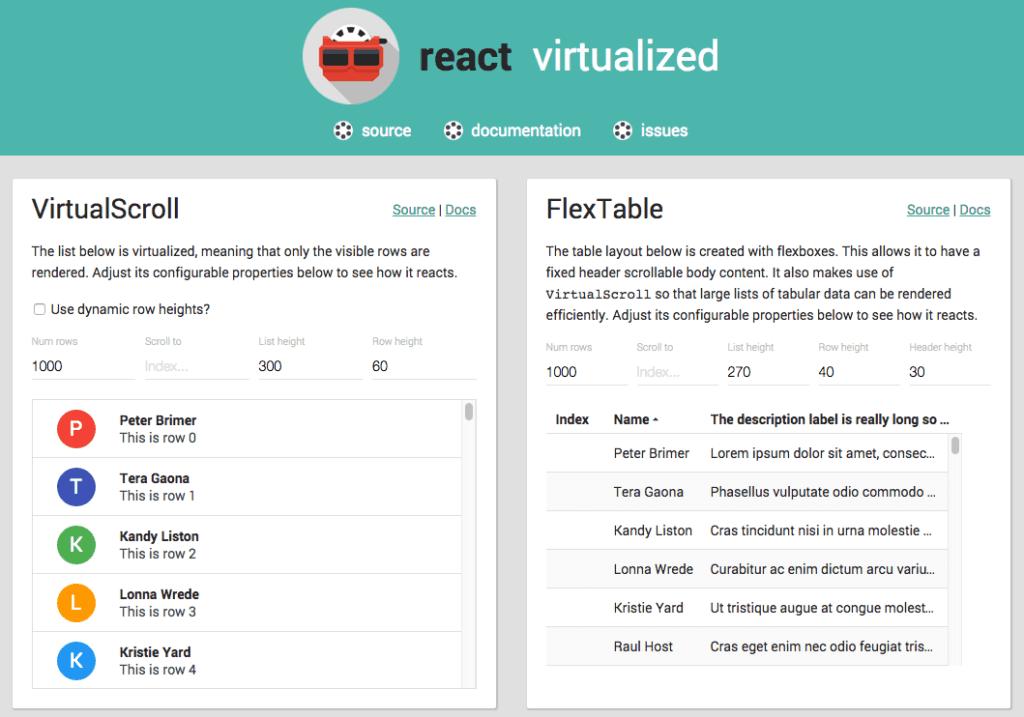 React-virtualized screenshot