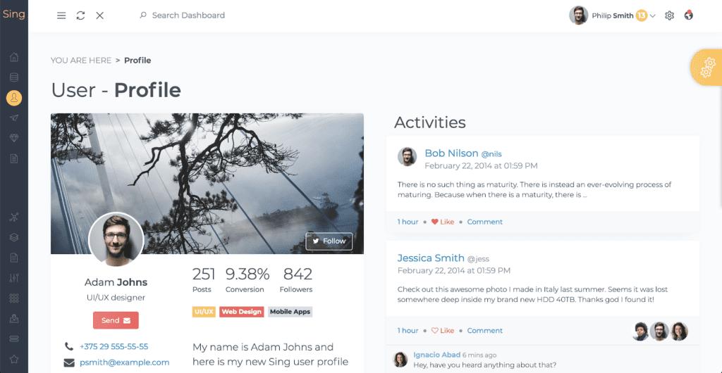 sing app profile component