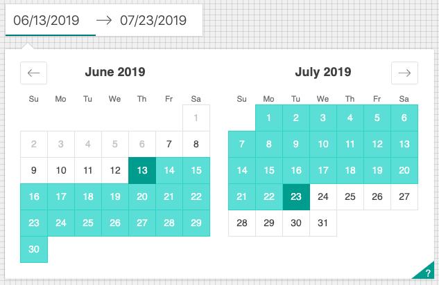 Airbnb react dates sceenshot