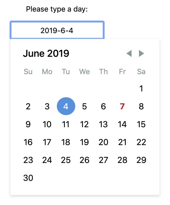 React-day-picker screenshot