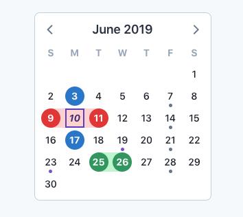 V-calendar screenshot