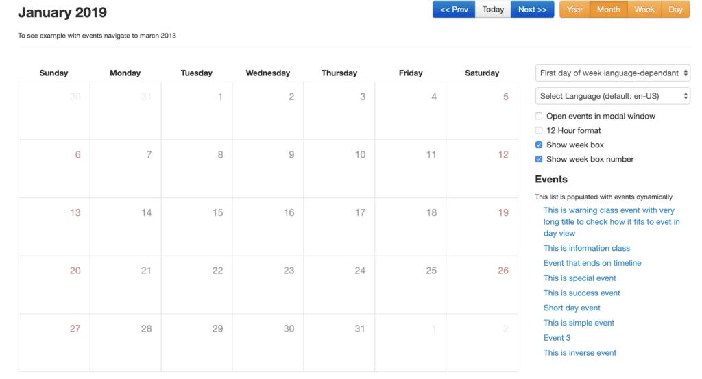 Bootstrap calendar screenshot