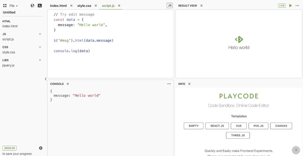 Playcode screenshot