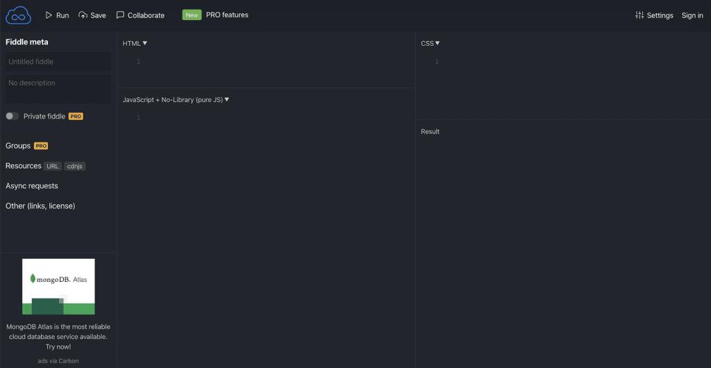 JSfiddle screenshot