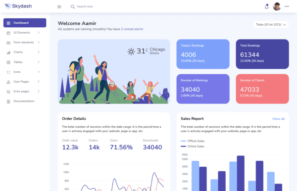 Skydash bootstrap template