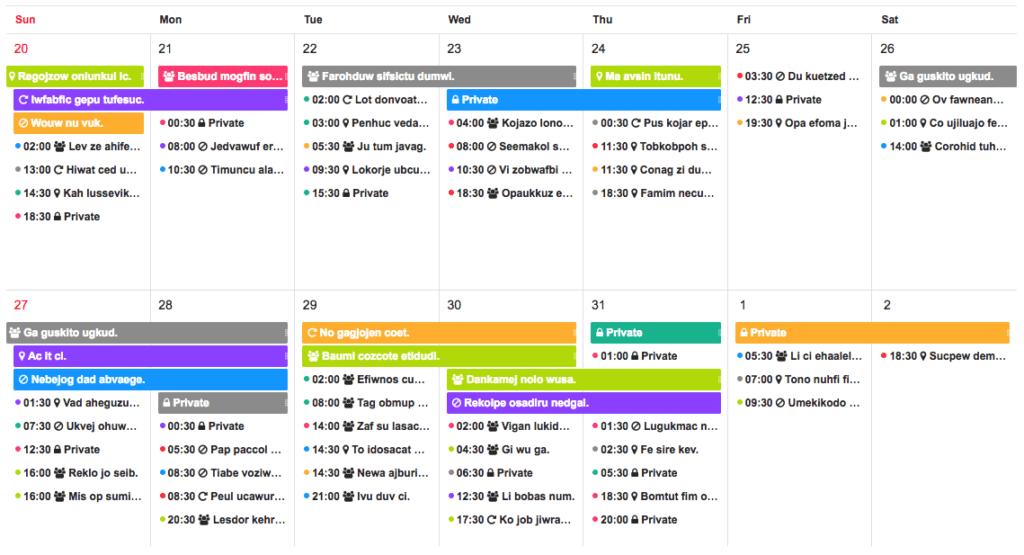 Tui calendar screeshot