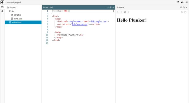 Plunker screenshot