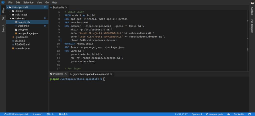 Gitpod screenshot