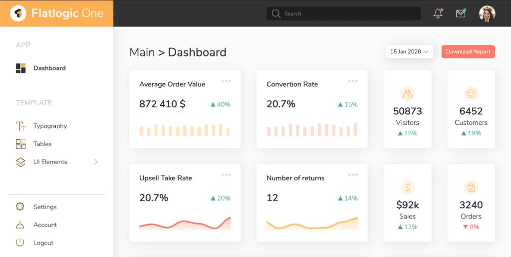 Flatlogic One Bootstrap Admin Dashboard Template screenshot