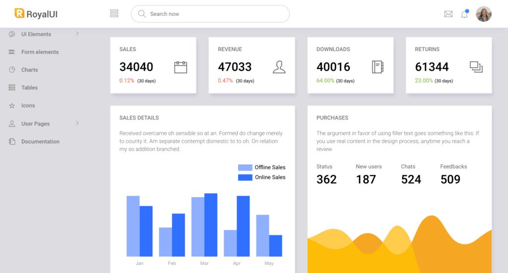 Royal UI Admin Dashboard Template screenshot
