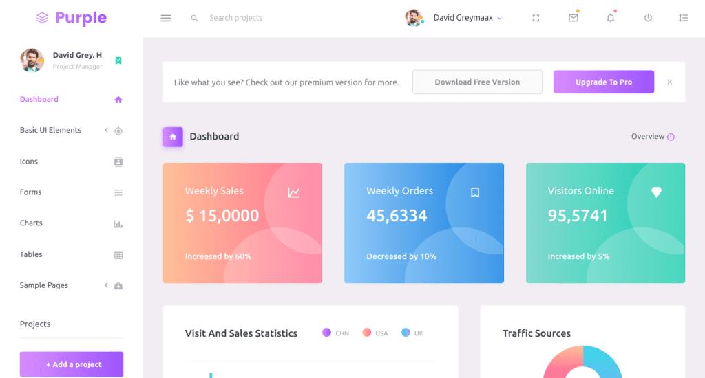 Purple-Free Admin Dashboard Template screenshot