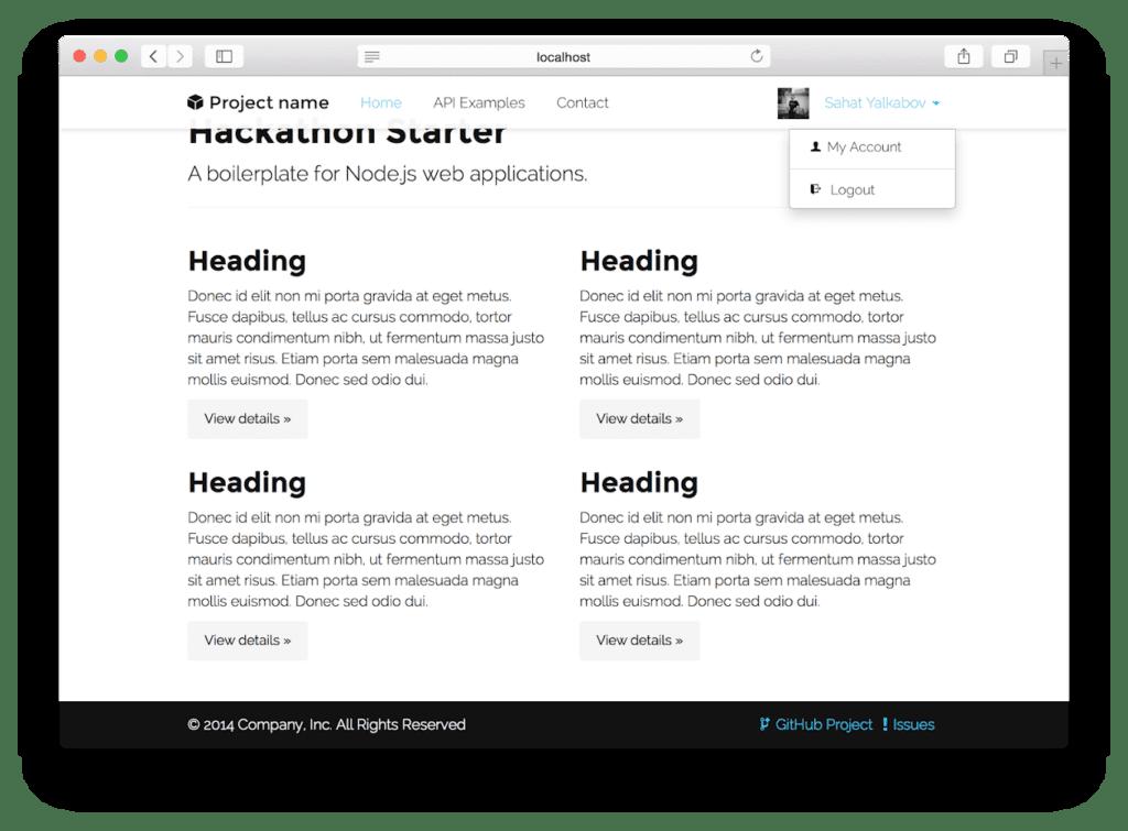 Hackathon starter screenshot