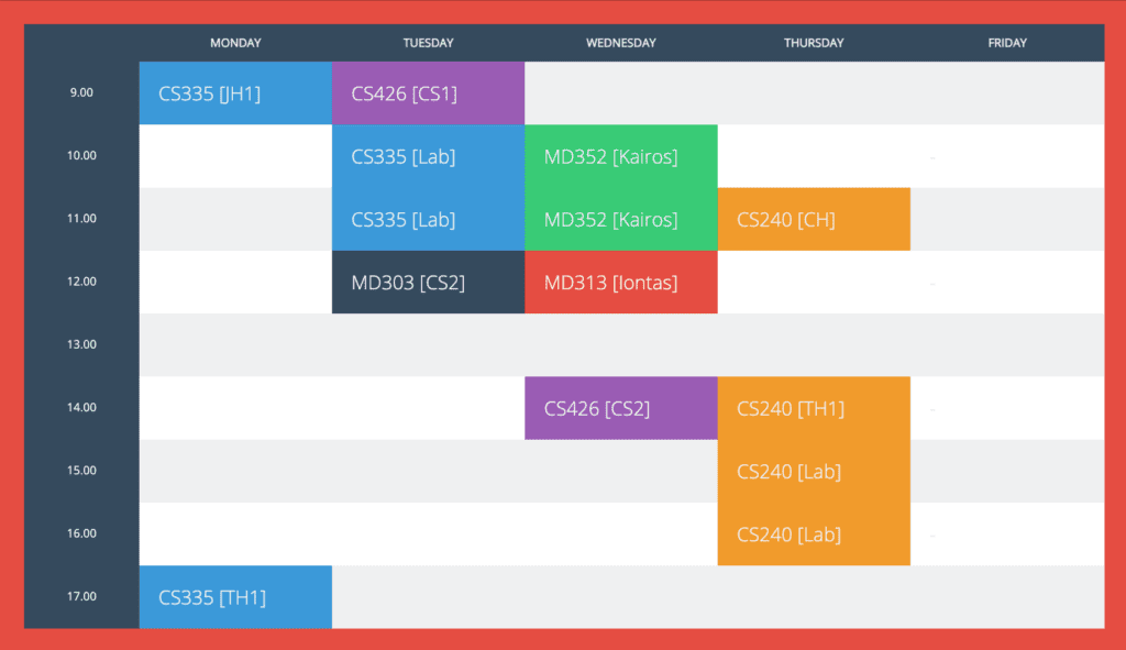 flat university timetable