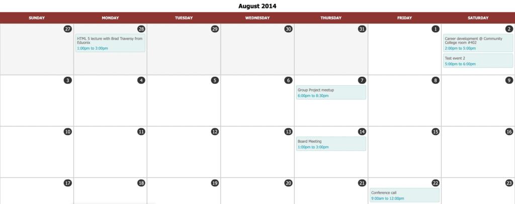 calendar table