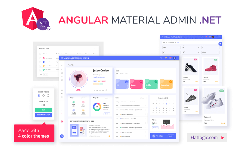 admin template with material design