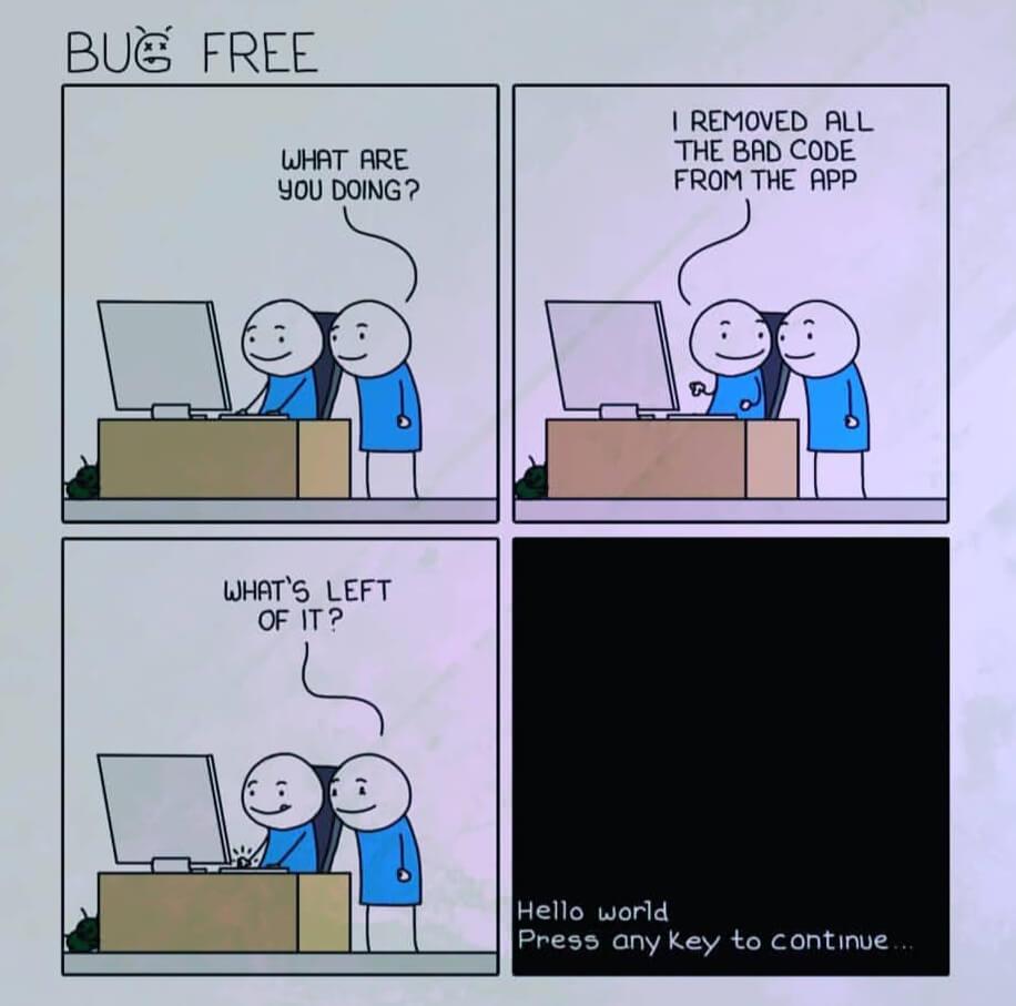 bug free | hello world