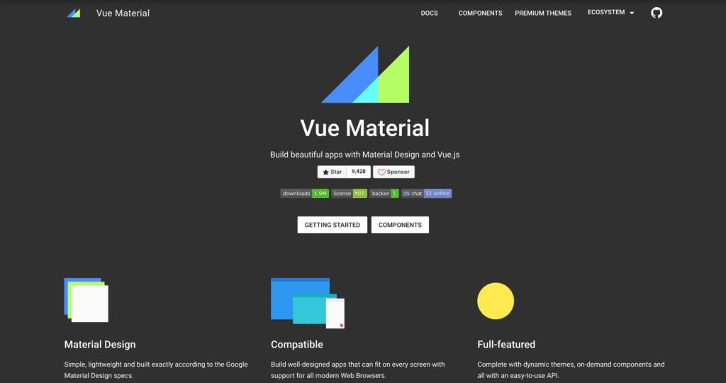 vue material Bootstrap Alternative